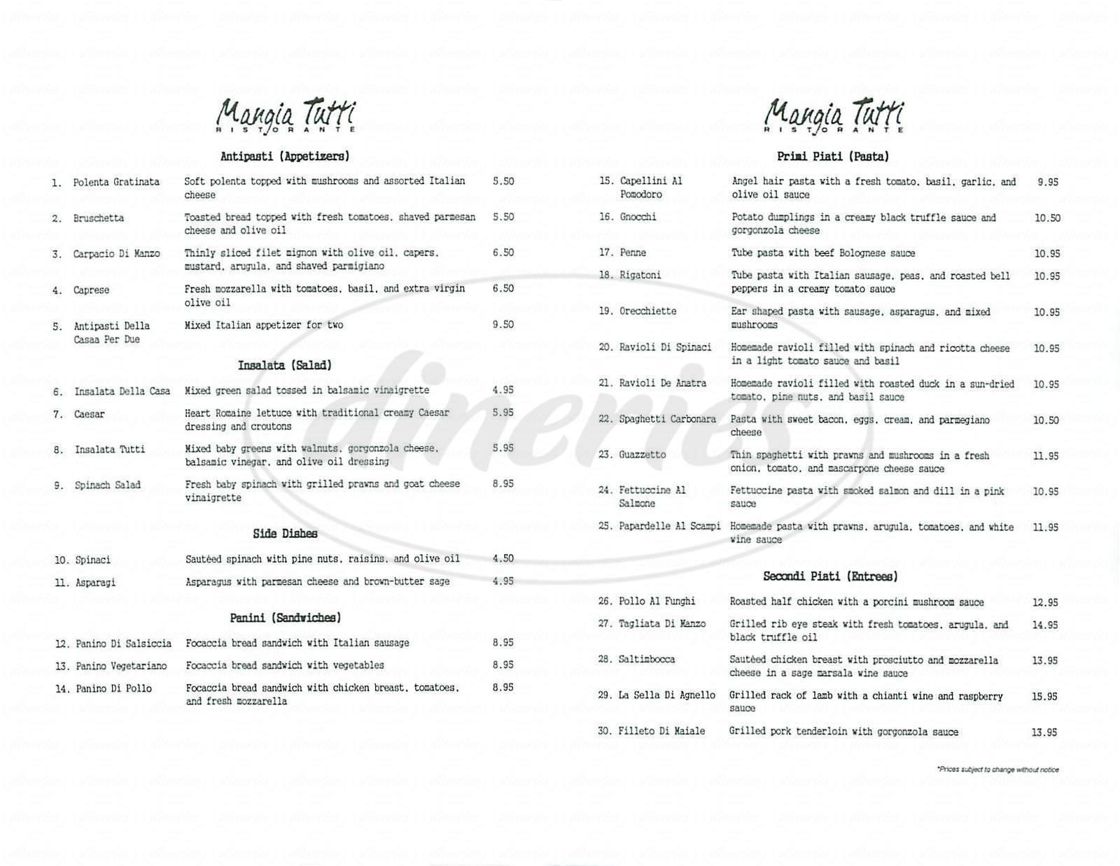 menu for Mangia Tutti Ristorante
