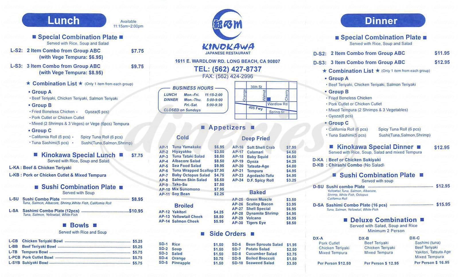 menu for Kinokawa Japanese