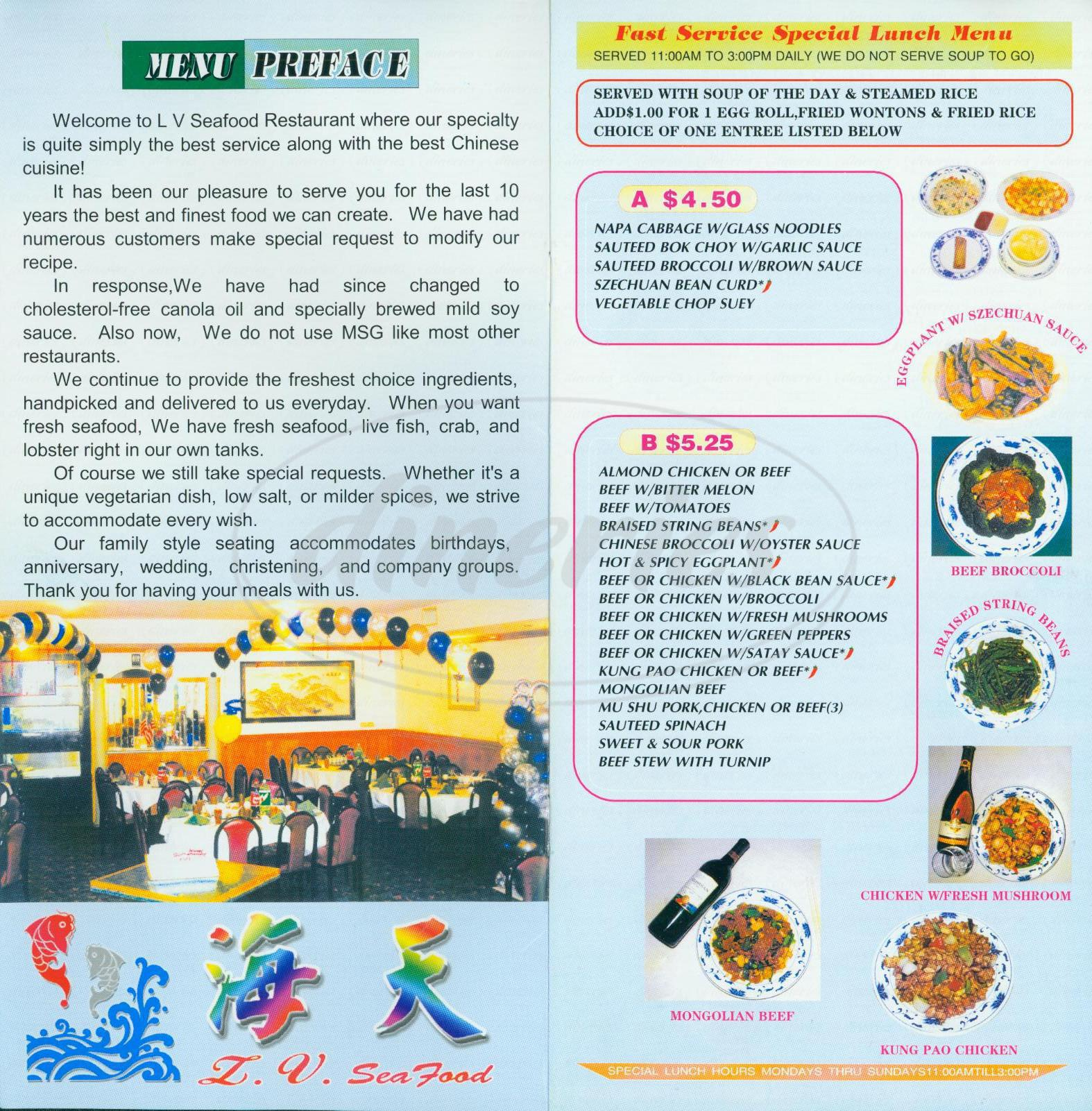 menu for LV Chinese Seafood Restaurant