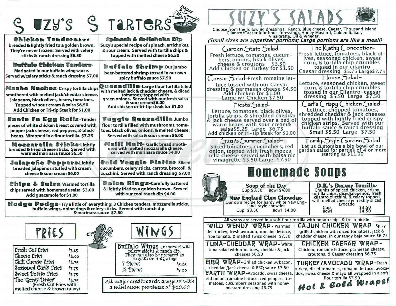 menu for Suzys Bar & Grill