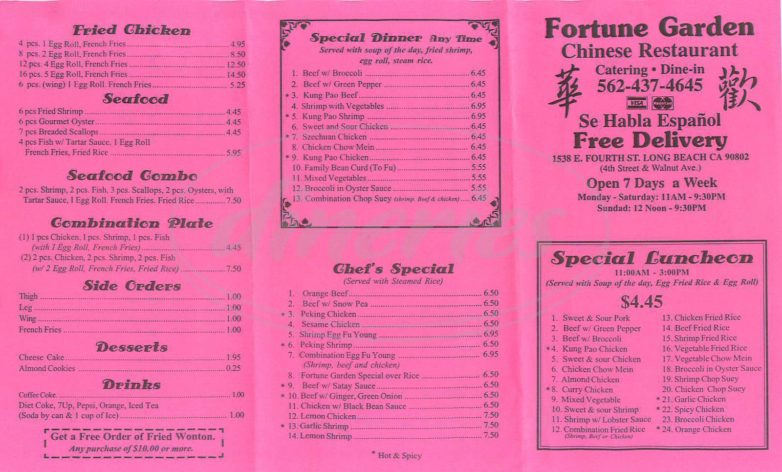 menu for Fortune Garden