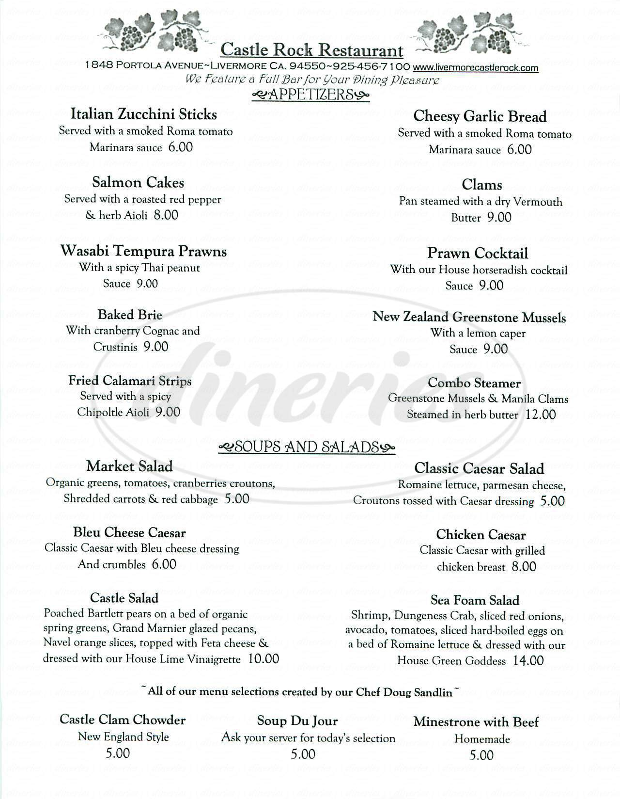 menu for Castle Rock Restaurant