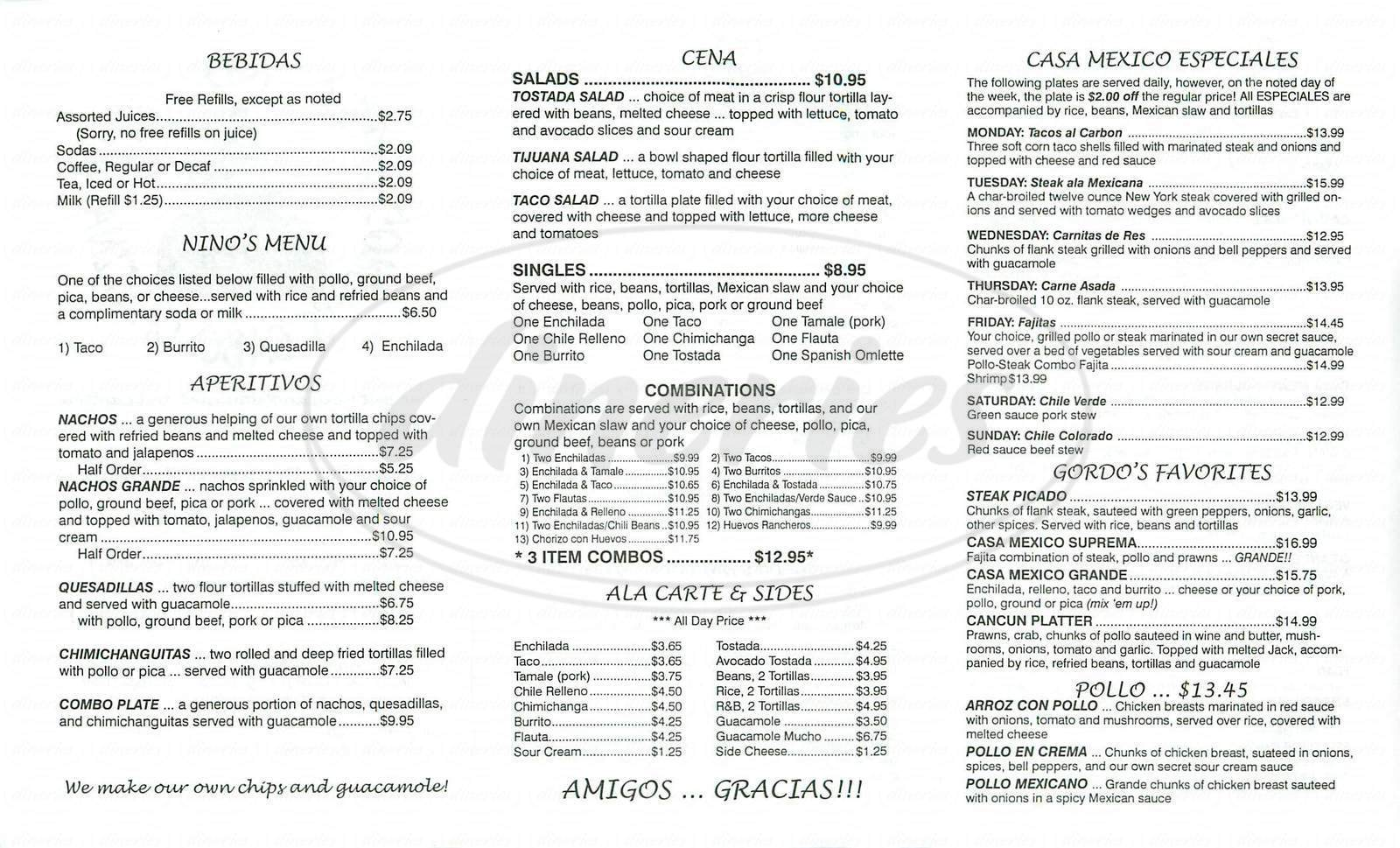 menu for Casa Mexico Gordo's Cabo Cantina