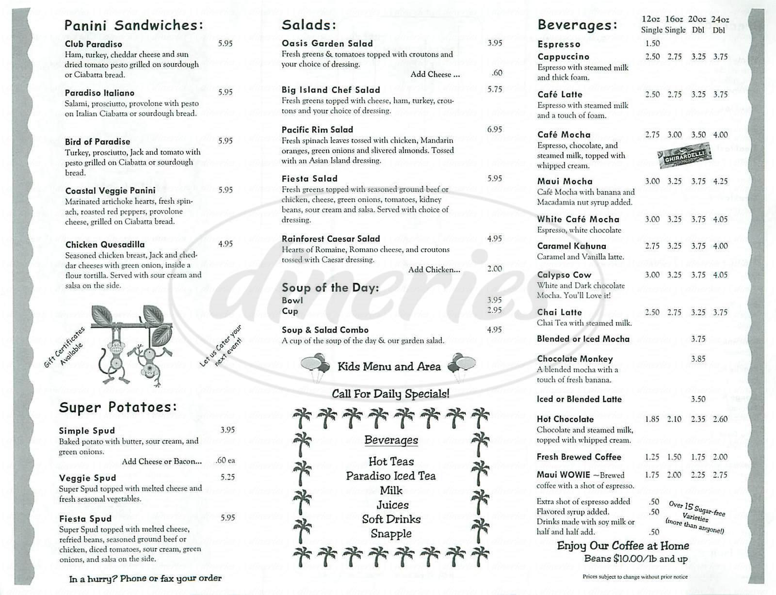 menu for Café Paradiso
