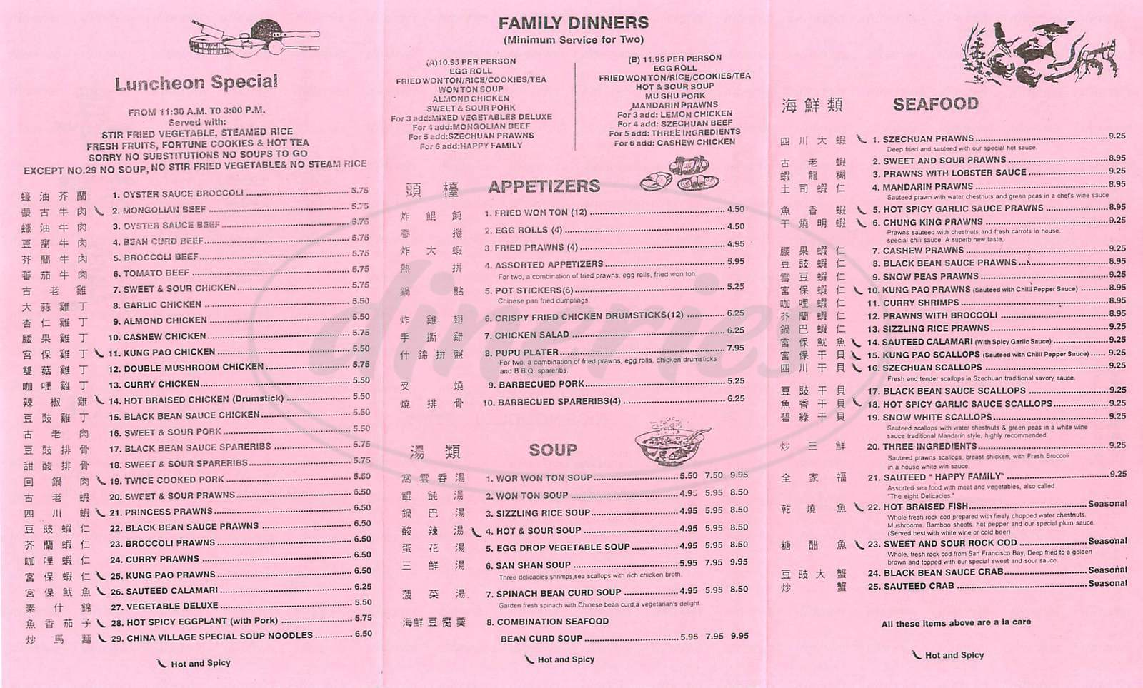 menu for China Village