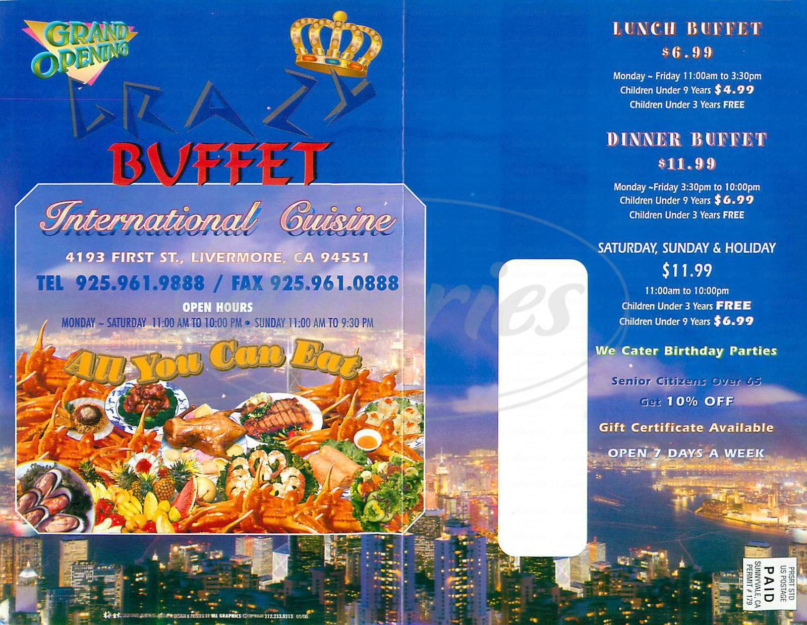 menu for Crazy Buffet