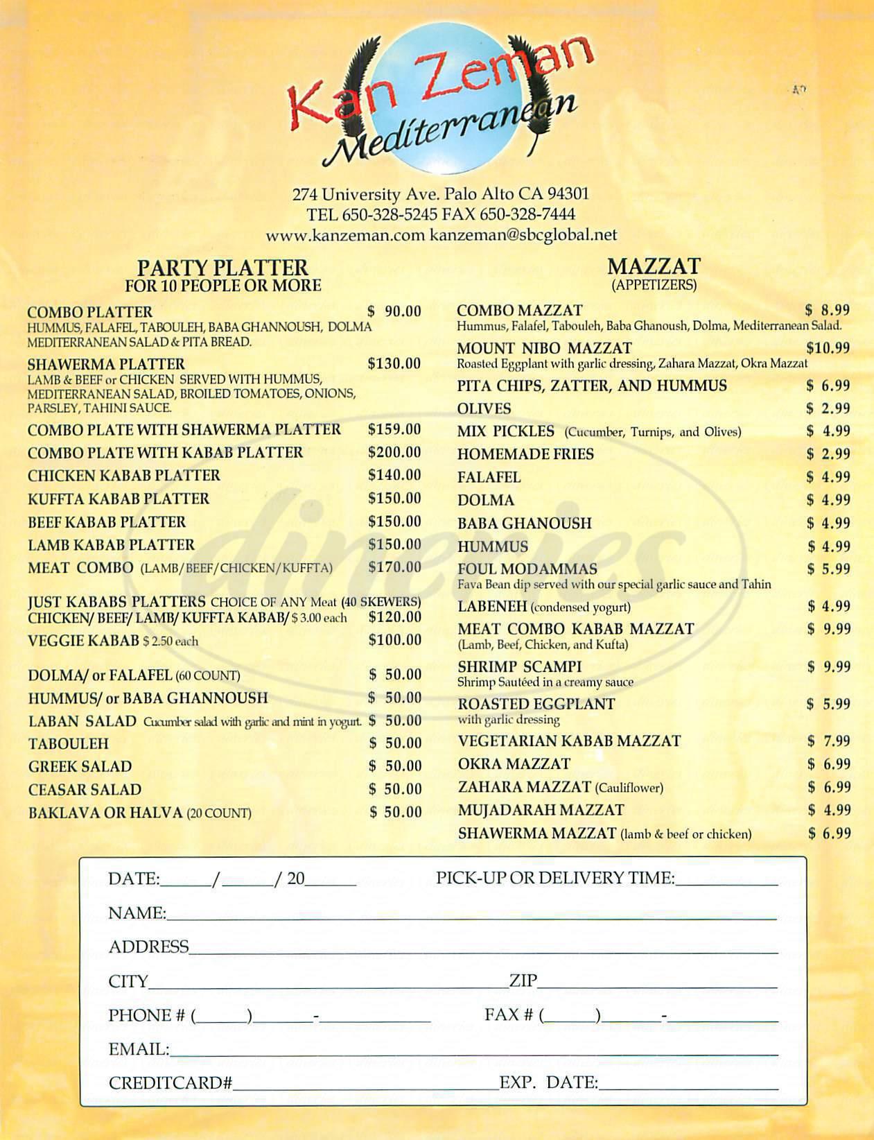 menu for Kan Zeman
