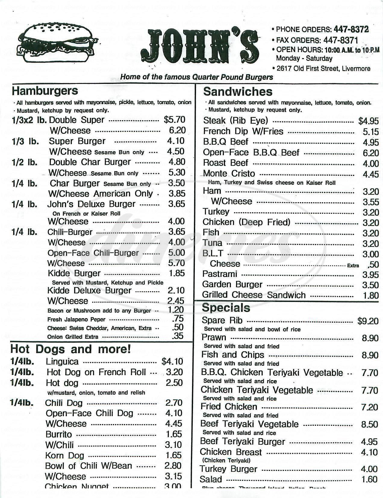 menu for John's Burgers