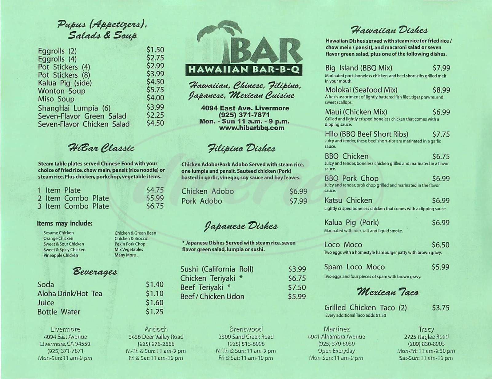 menu for Hibar Hawaiian Bbq
