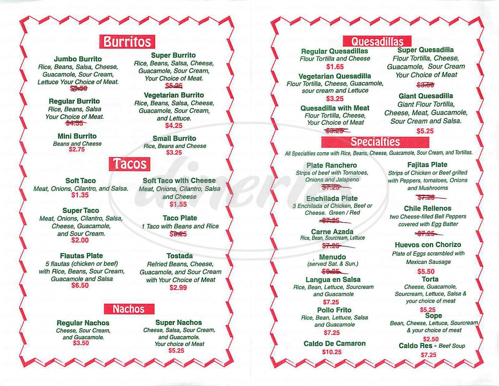 menu for Los Caporales Taqueria