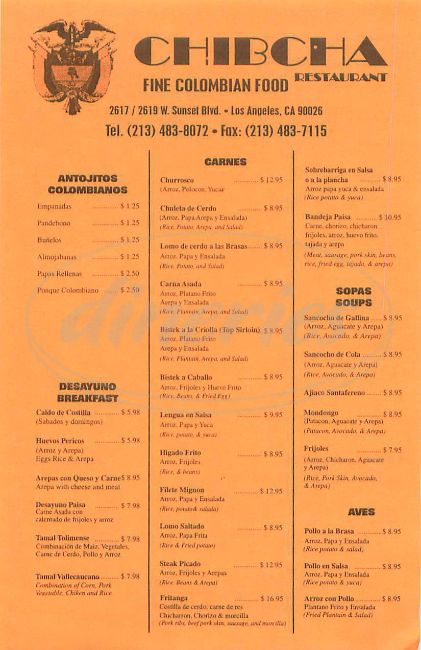 menu for Chibcha Colombian Restaurant