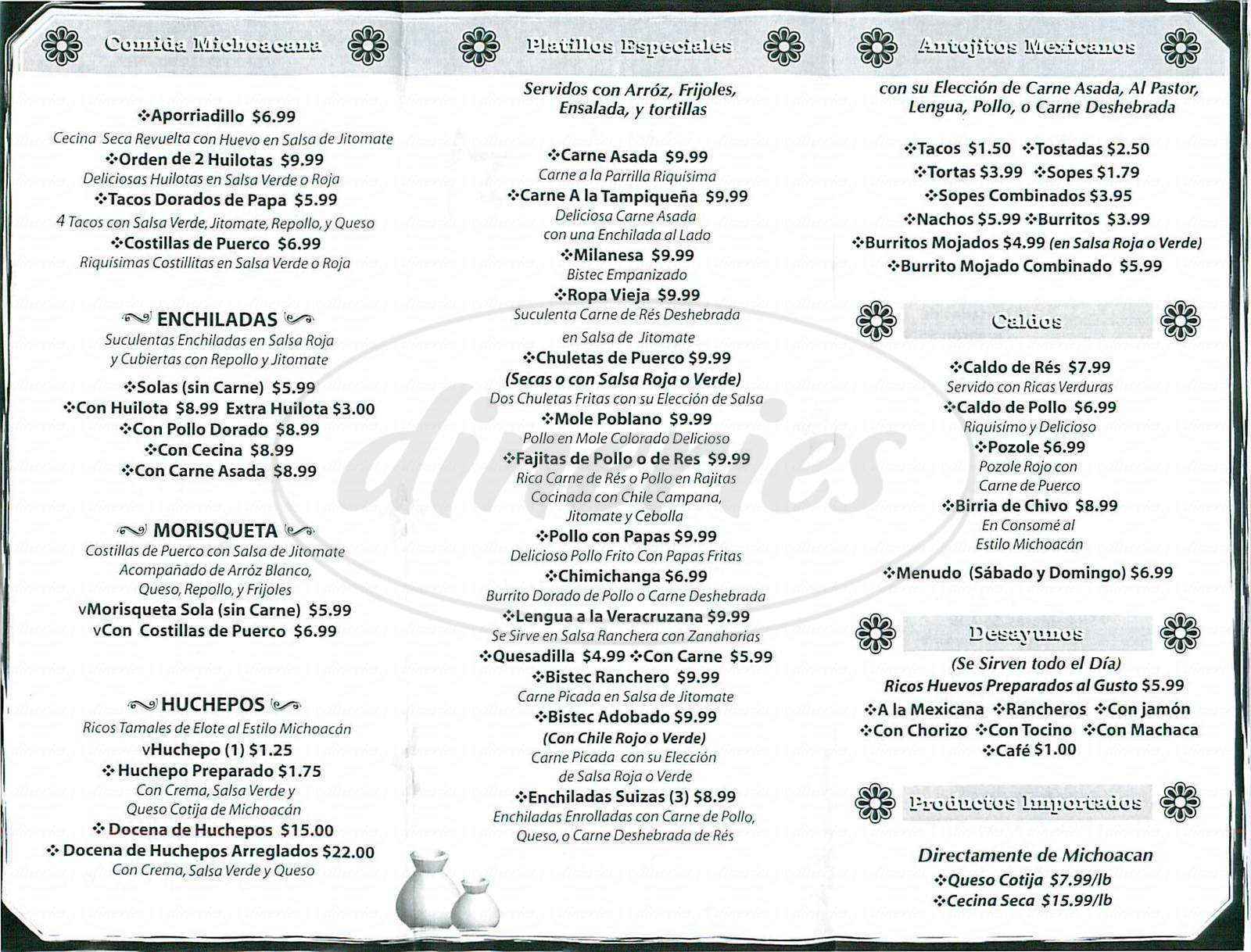 menu for Las Brisas de Apatzingan