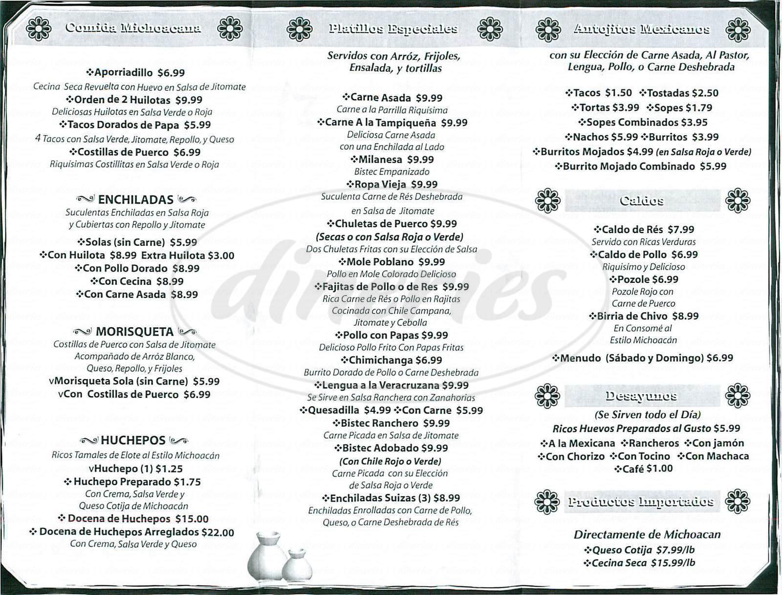 menu for Las Brisas de Apatzingan