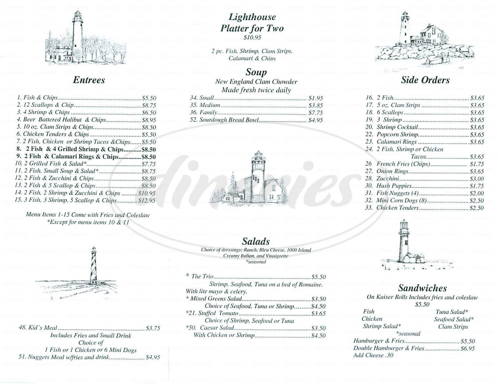 menu for Lighthouse Fish & Chips