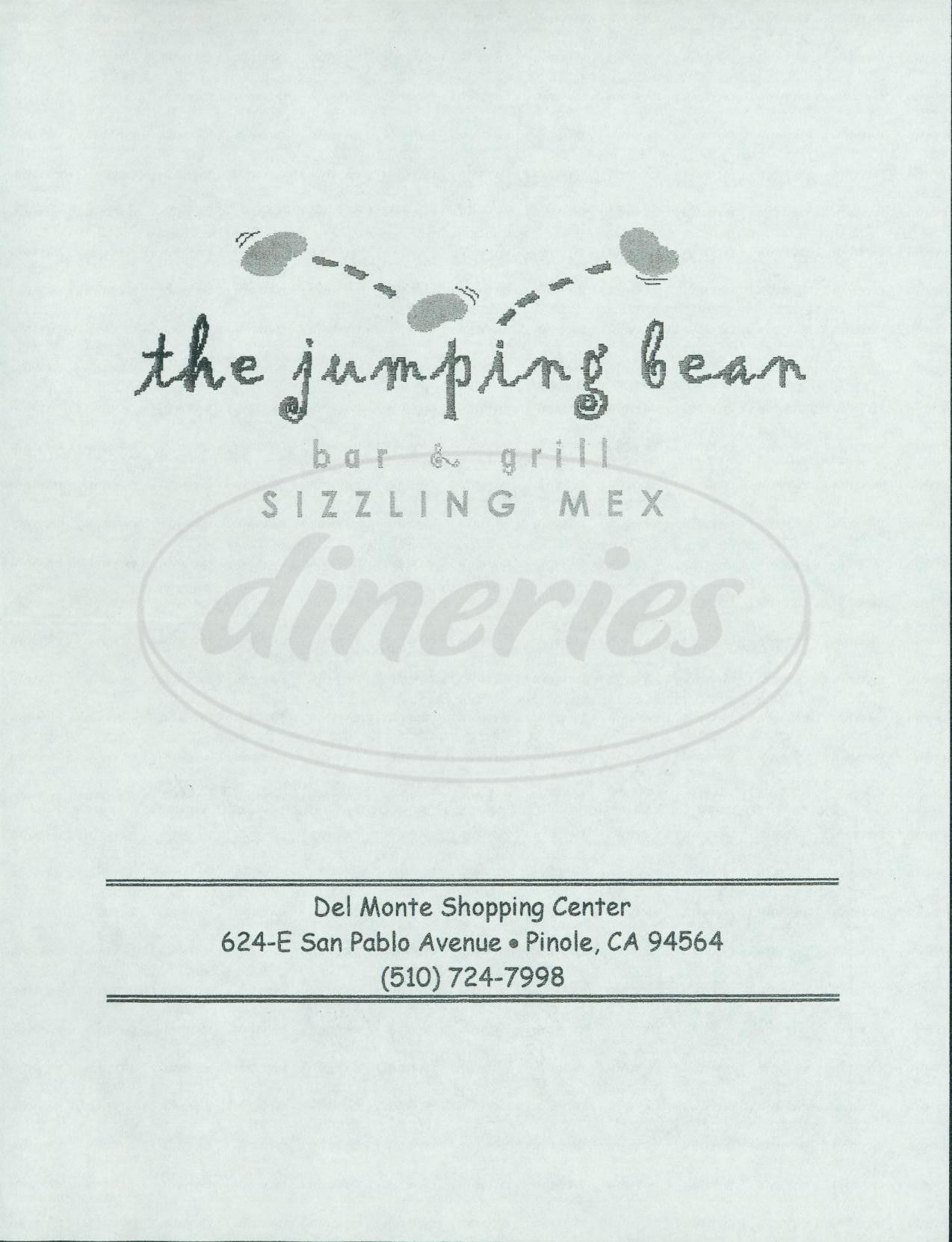 menu for The Jumping Bean