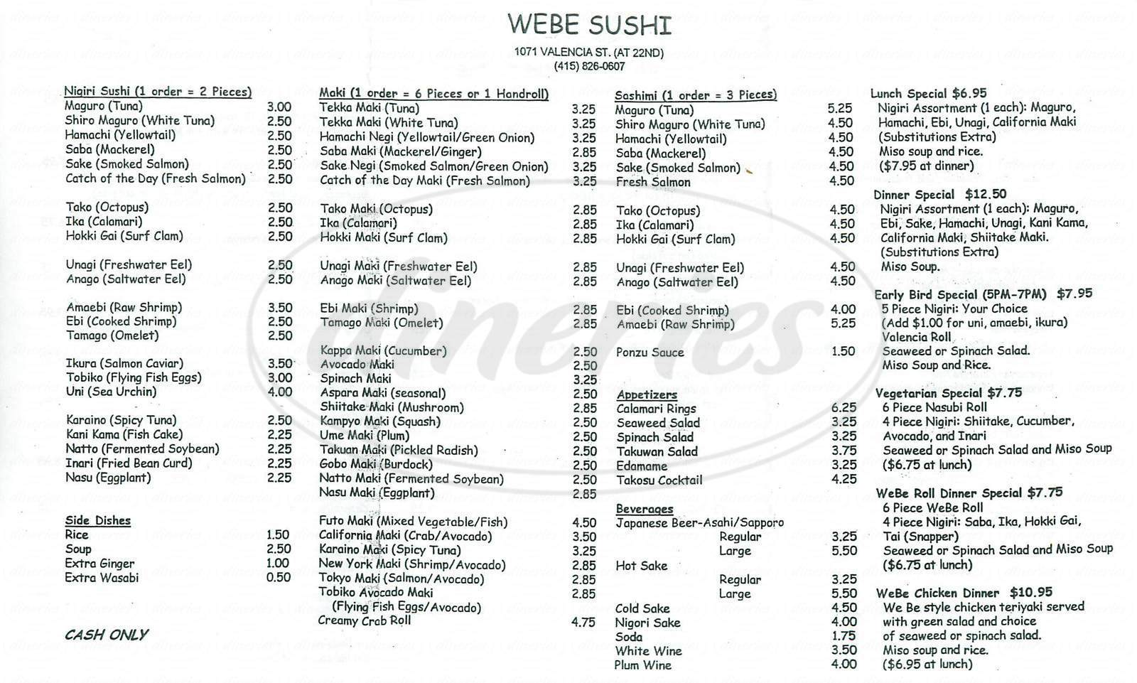menu for We Be Sushi