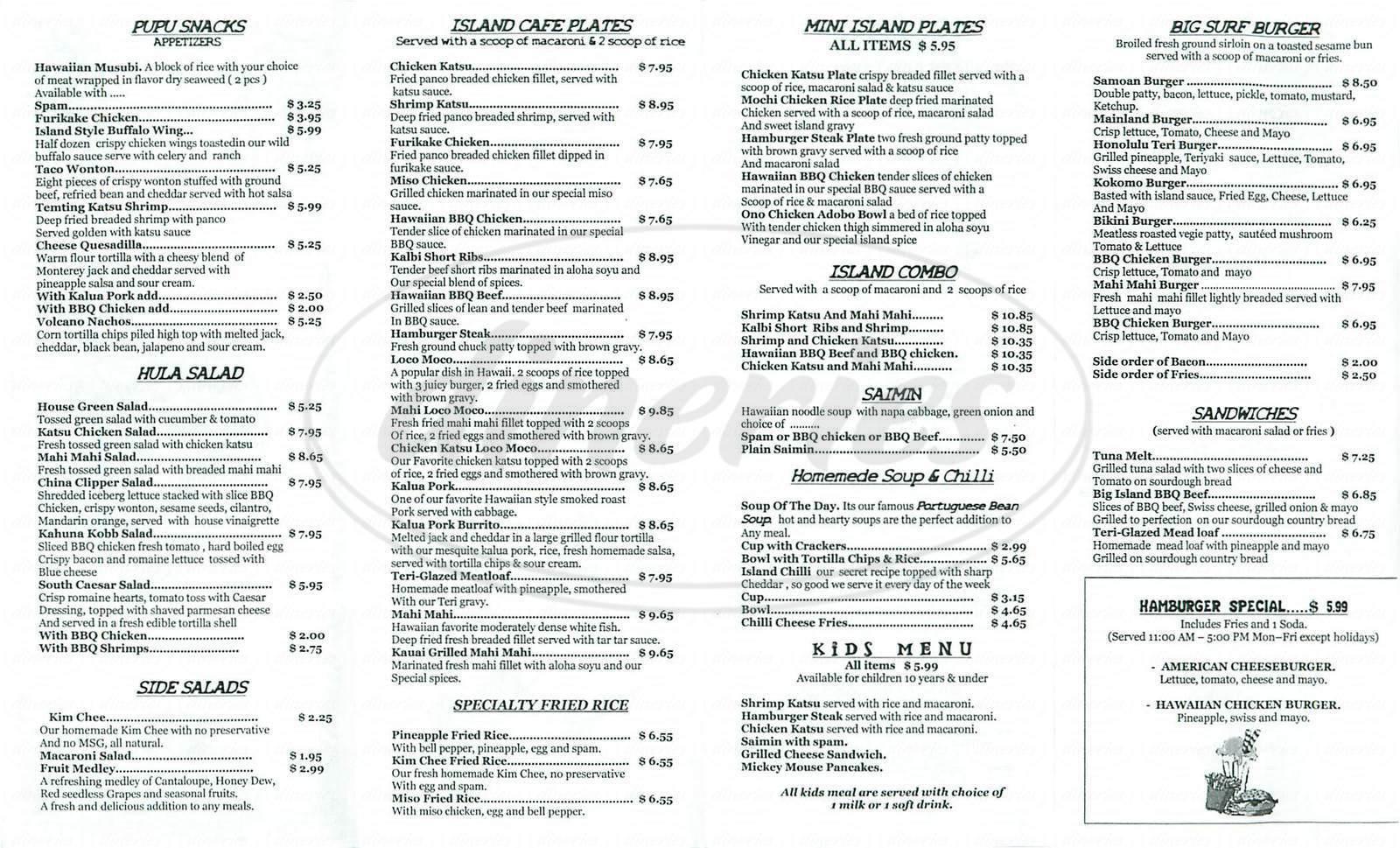 menu for Island Café
