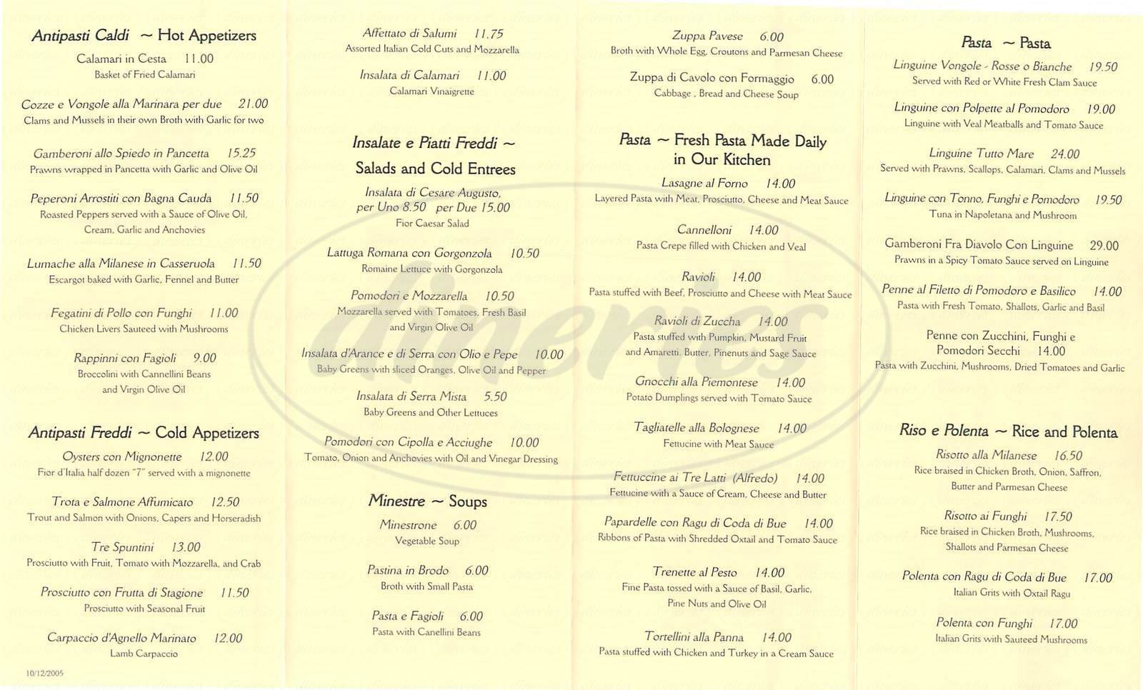menu for Fior d' Italia