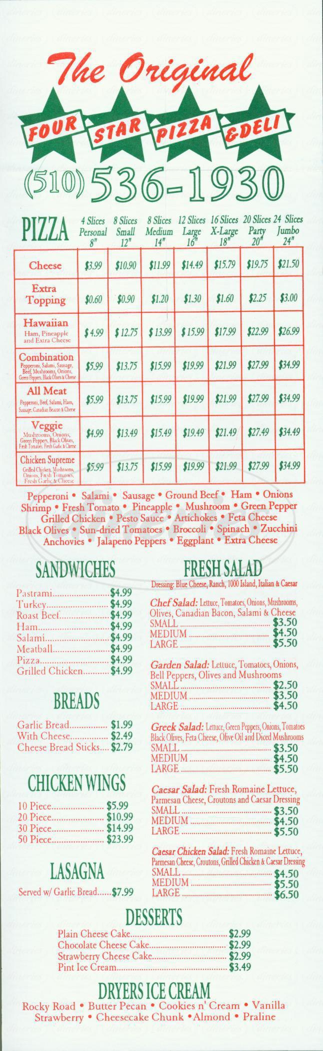 menu for Four Star Pizza & Deli