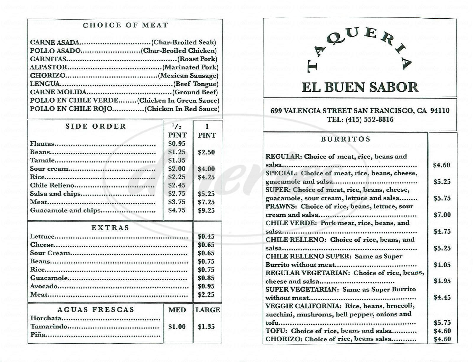 menu for Taqueria El Buen Sabor
