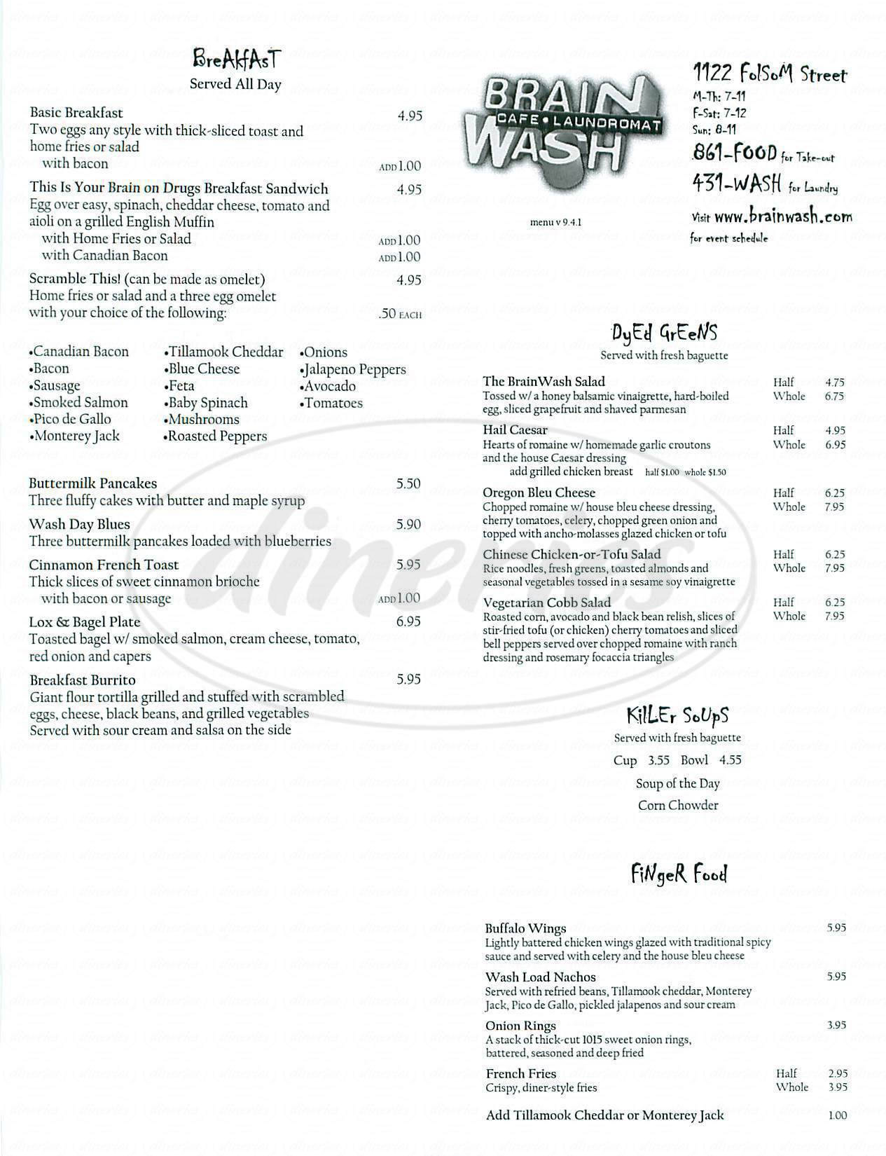 menu for Brain Wash Café
