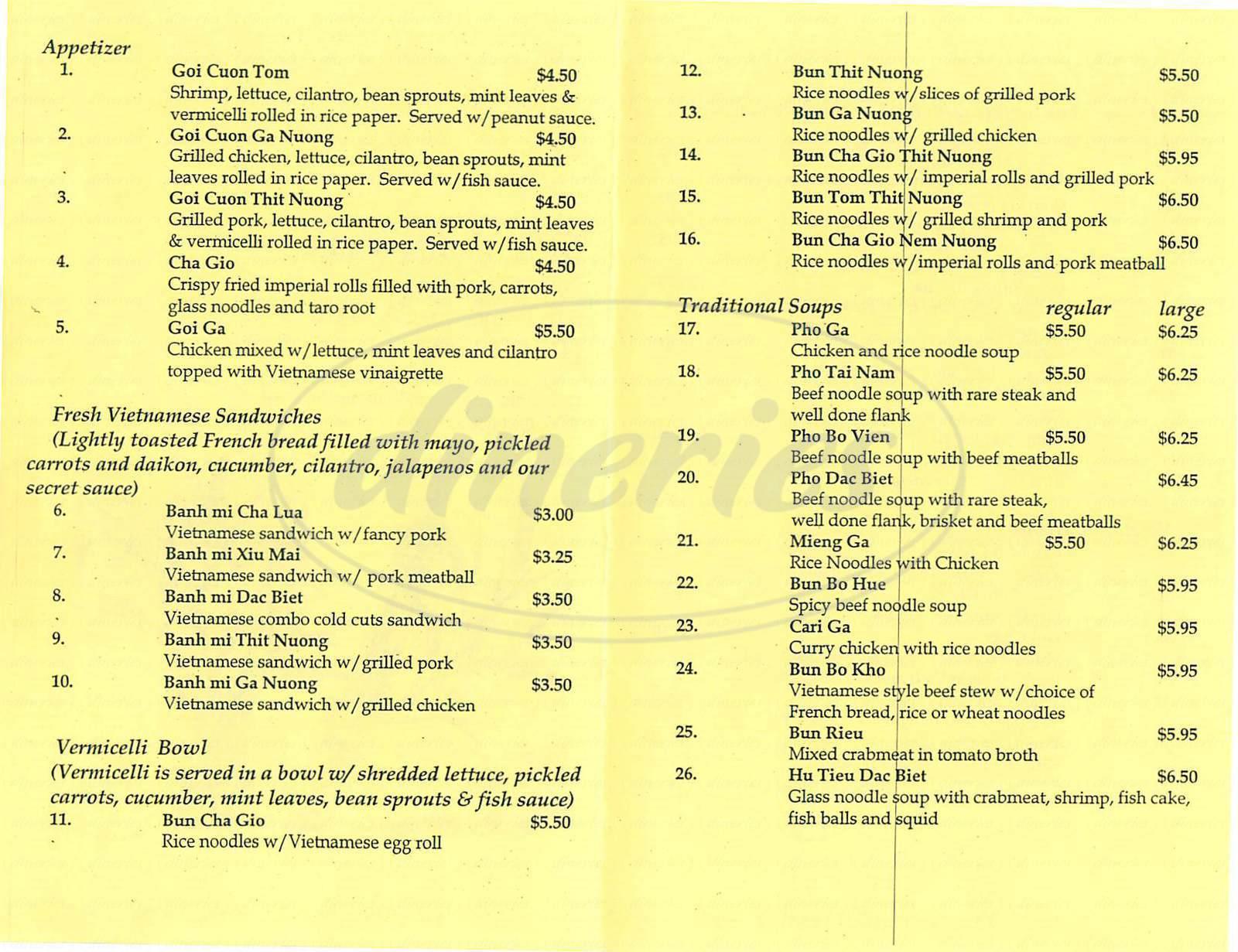 menu for Little Vietnam Café