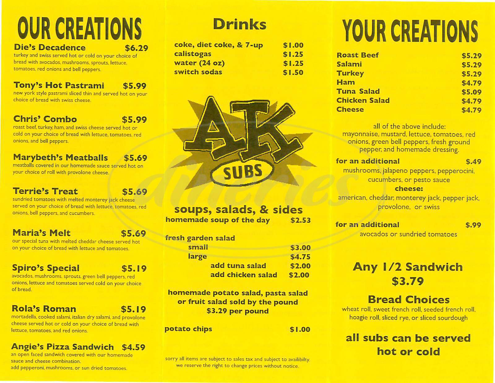 menu for AK Subs