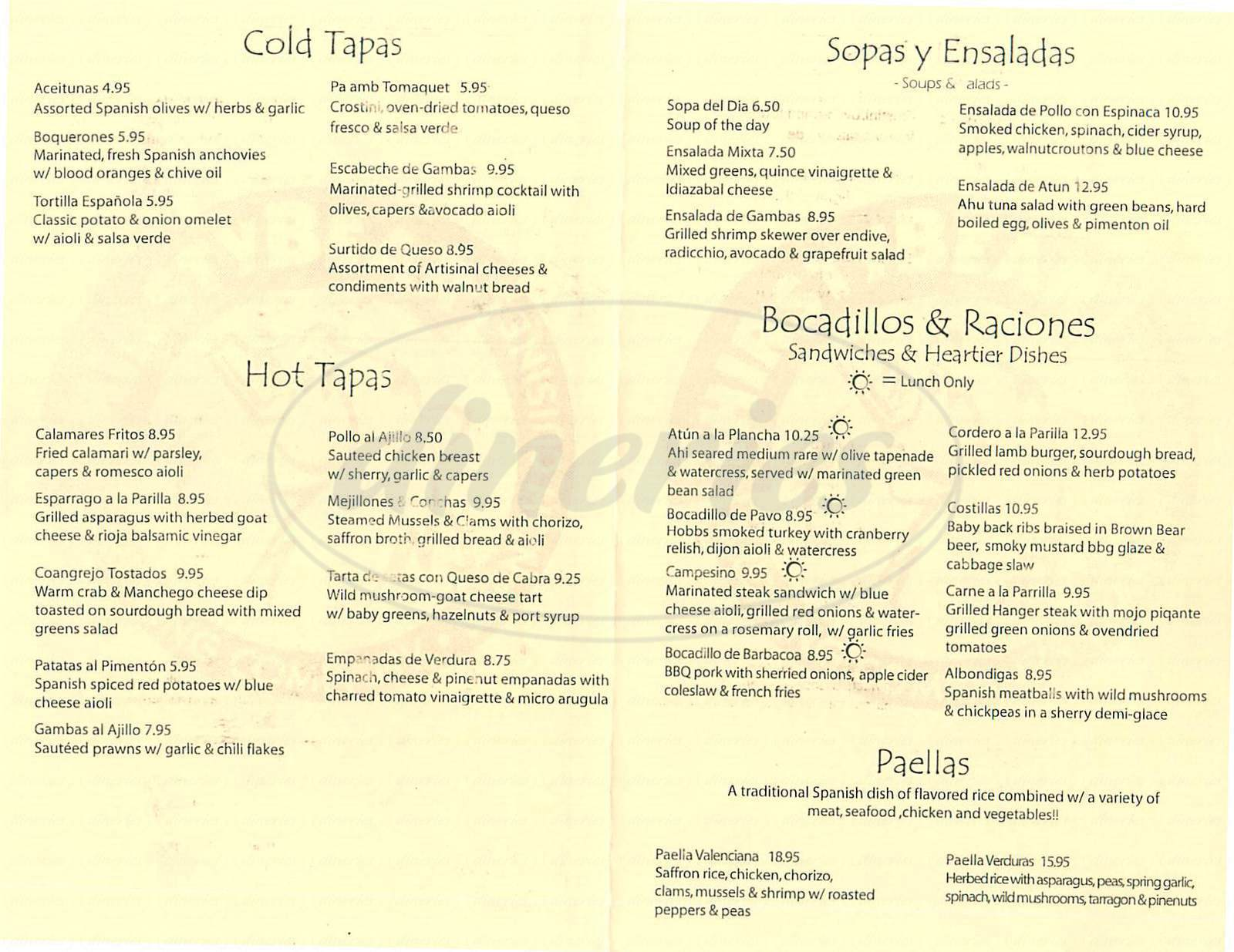 menu for Thirsty Bear