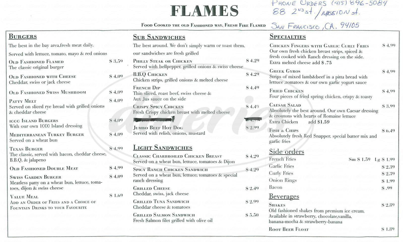 menu for Flames