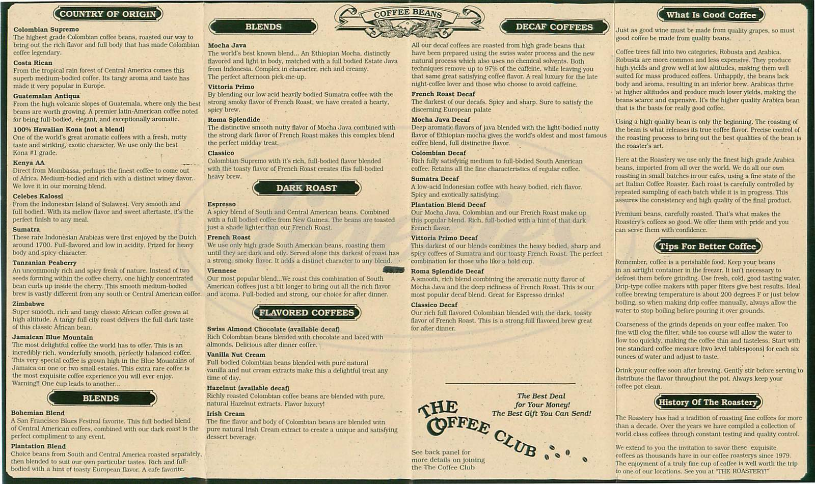 menu for The Coffee Roastery