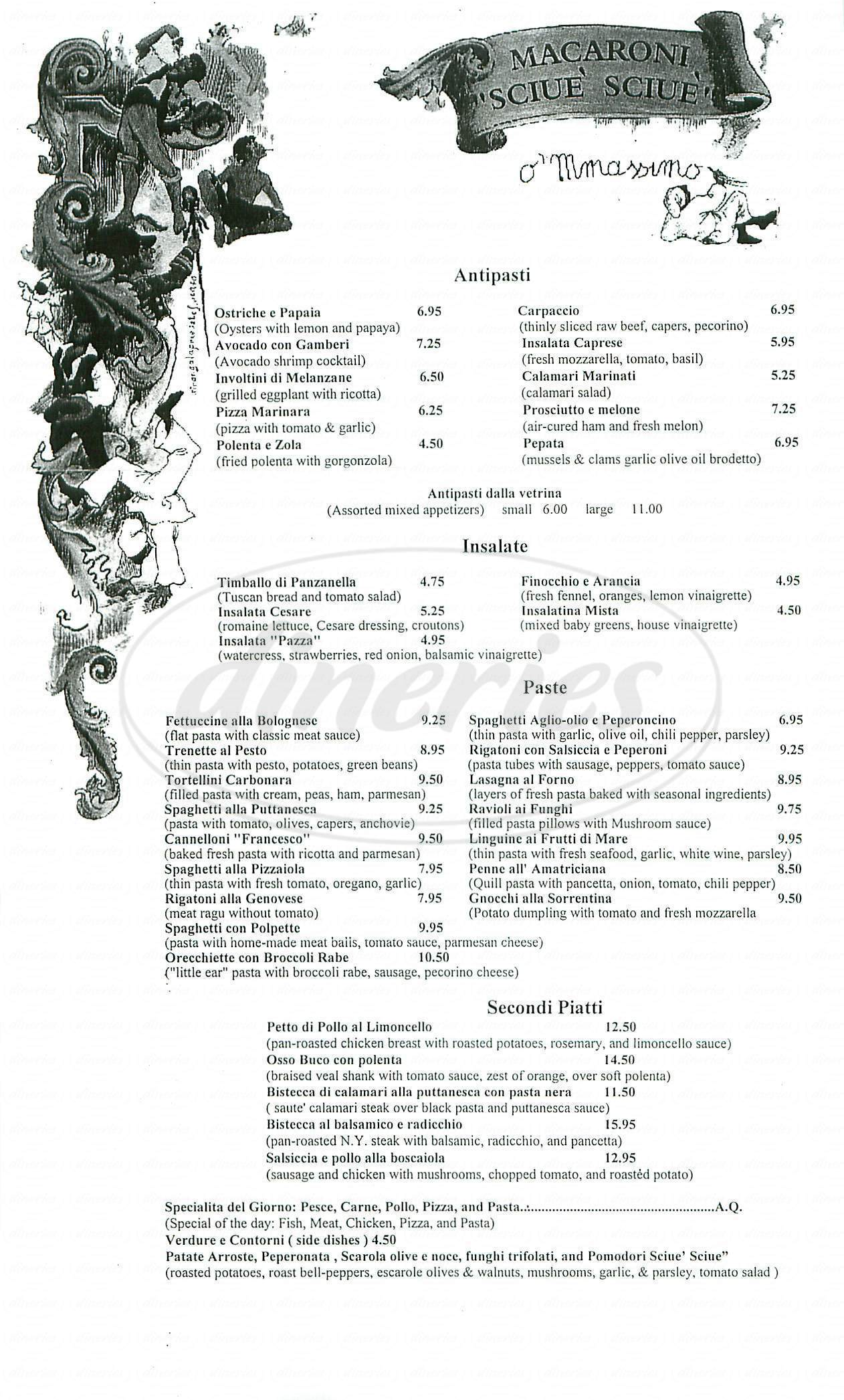 menu for Macaroni Sciue' Sciue'