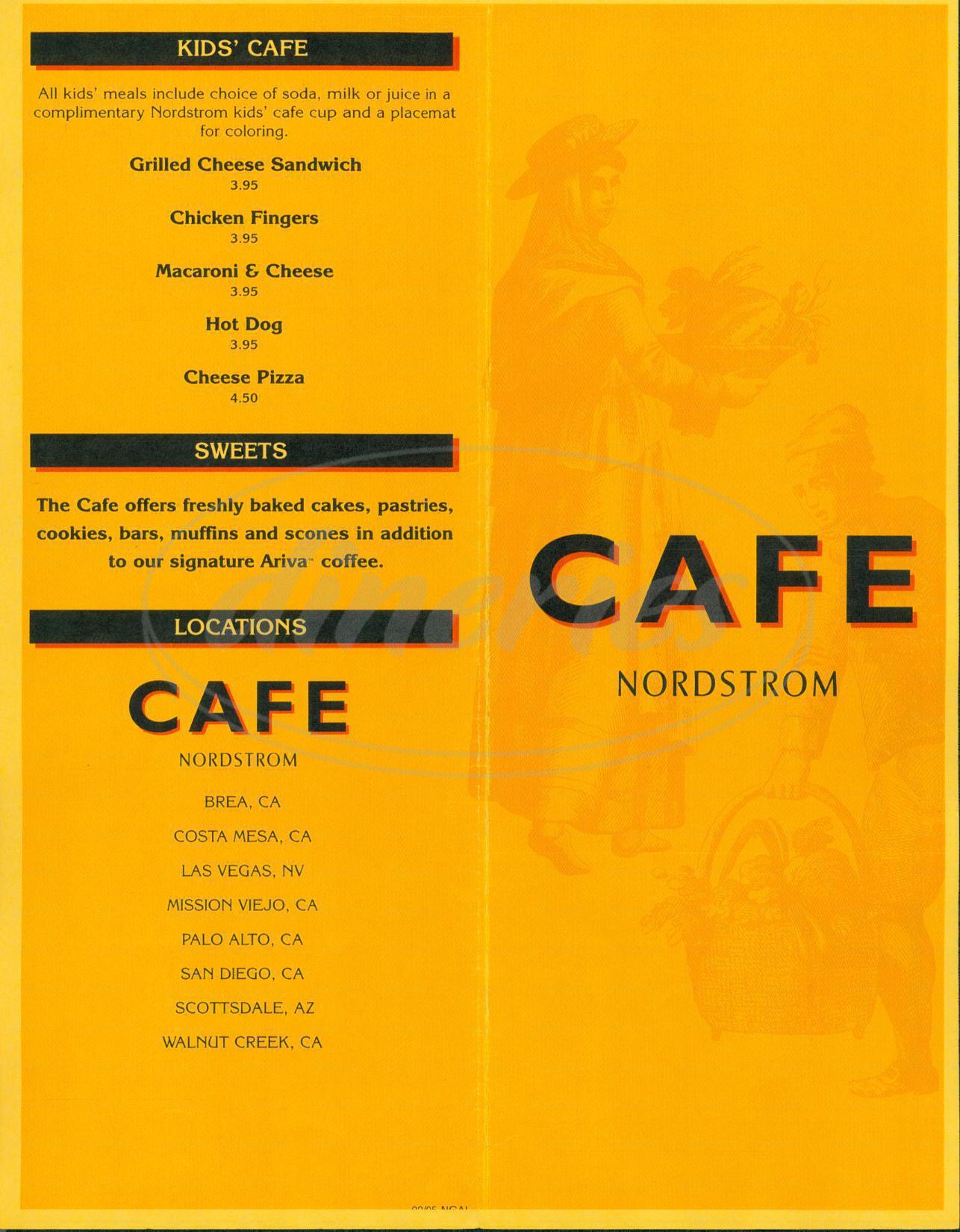 menu for Nordstrom Café
