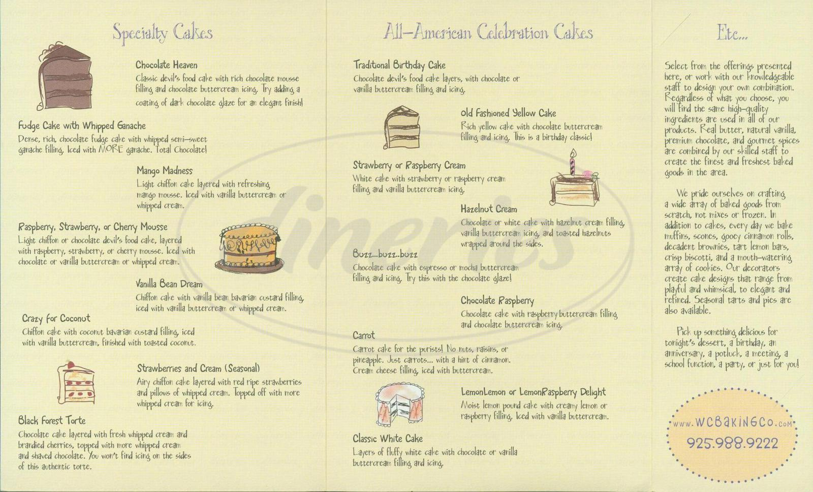 menu for Walnut Creek Baking Company