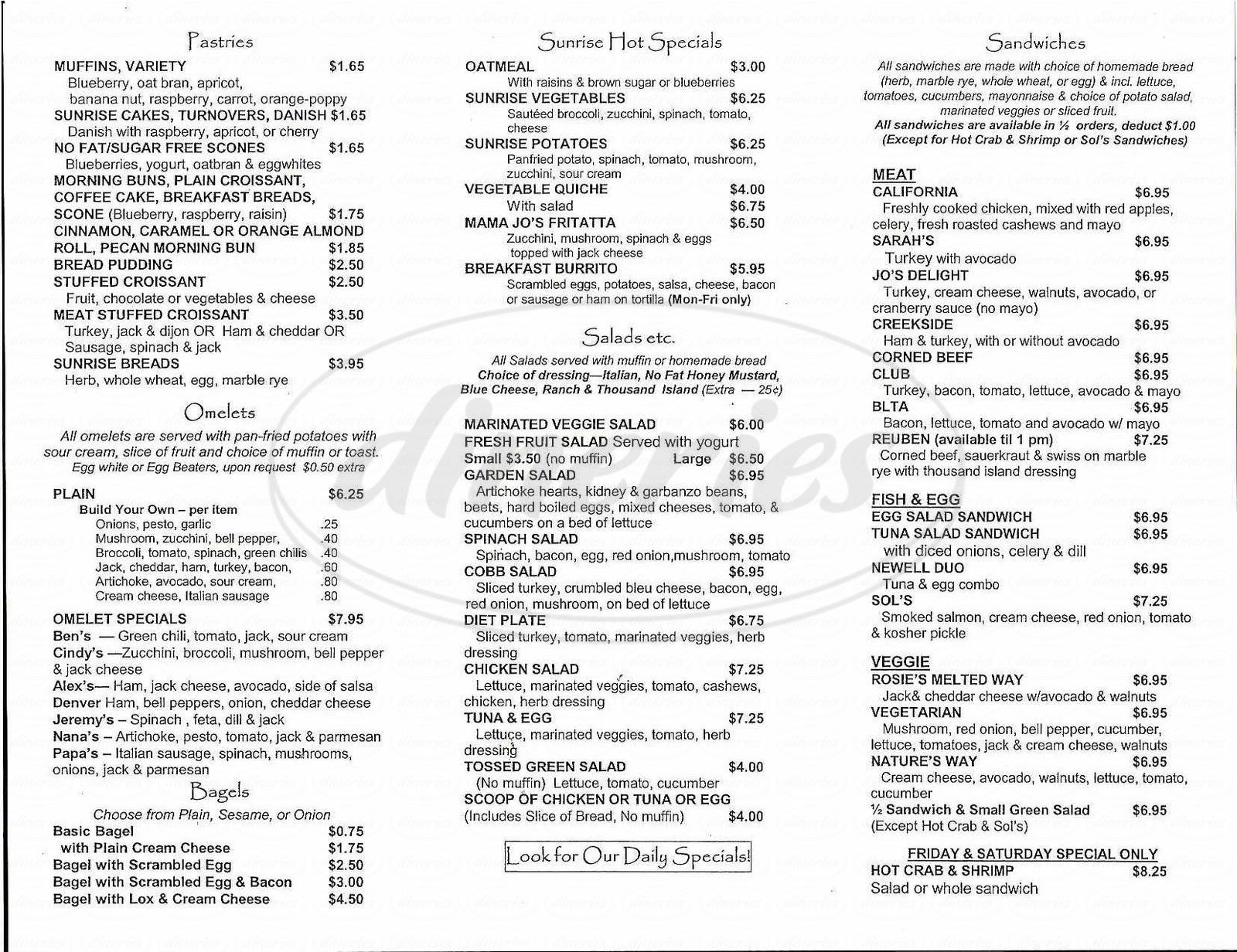 Sunrise Cafe Walnut Creek Menu