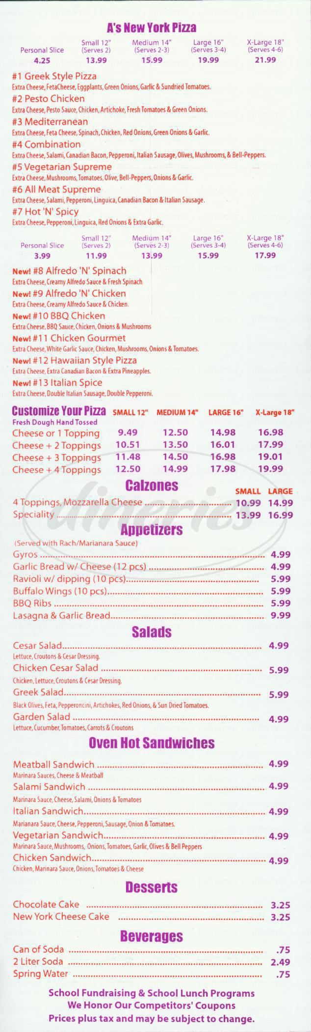 menu for A's New York Pizza