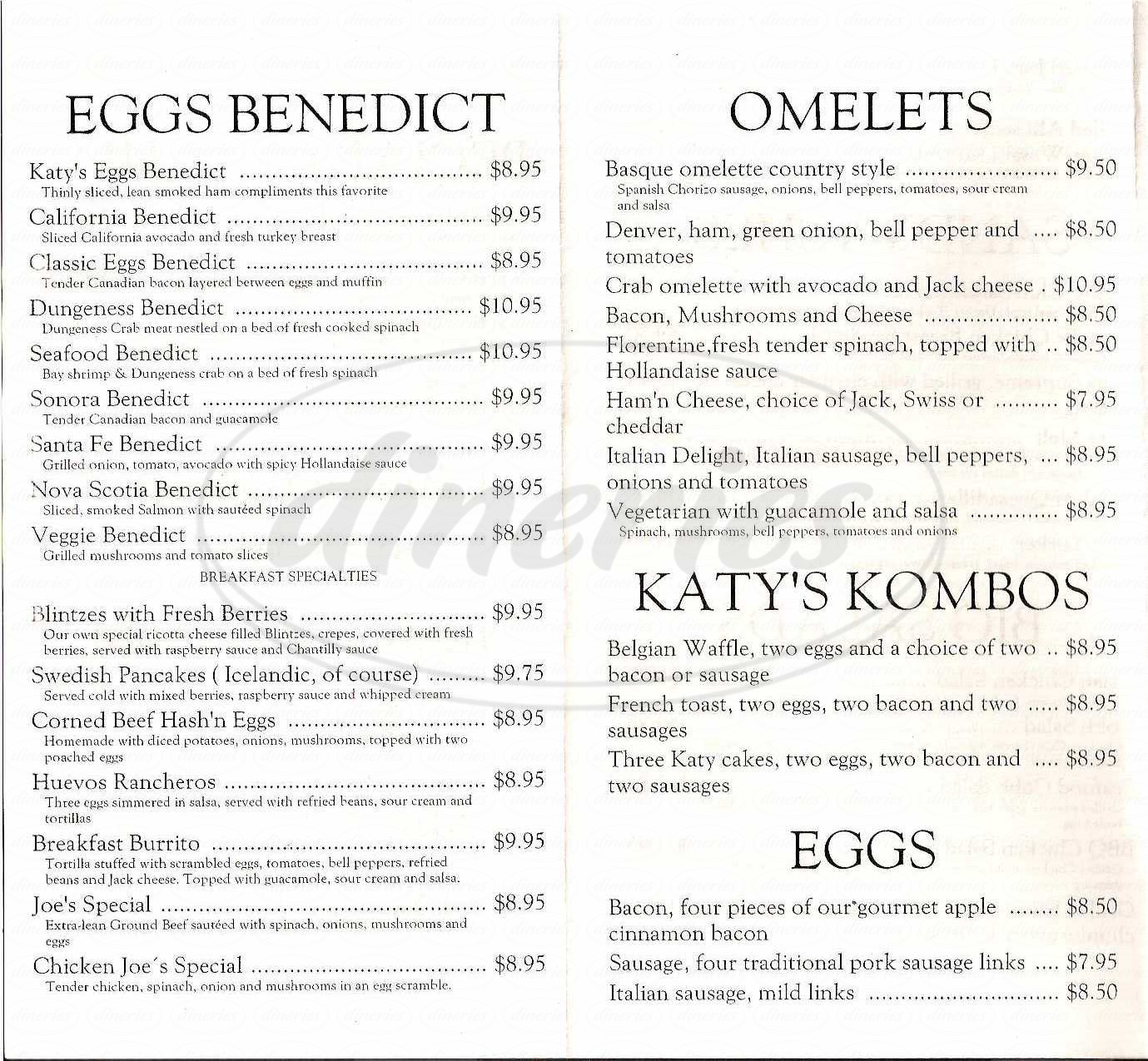 menu for Katy's Kreek