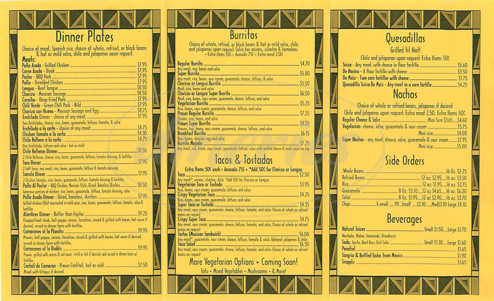 menu for Taqueria Maria