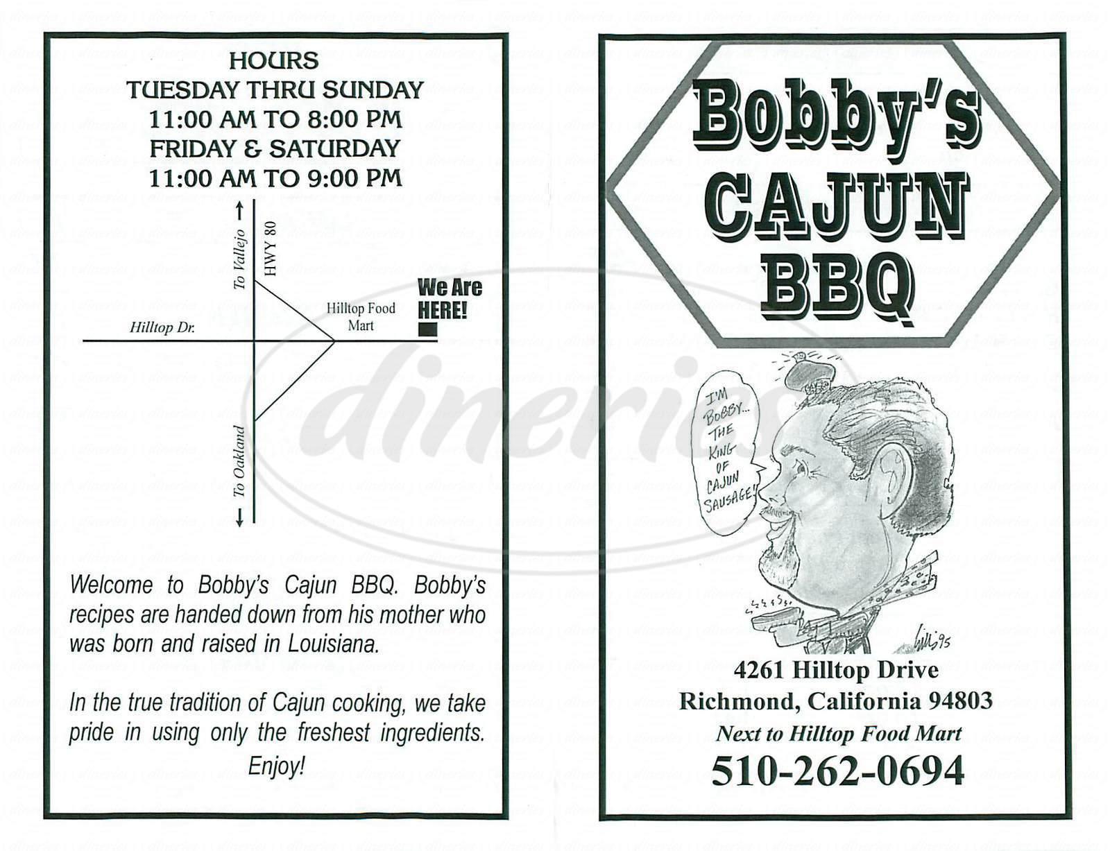 menu for Bobby's Cajun BBQ