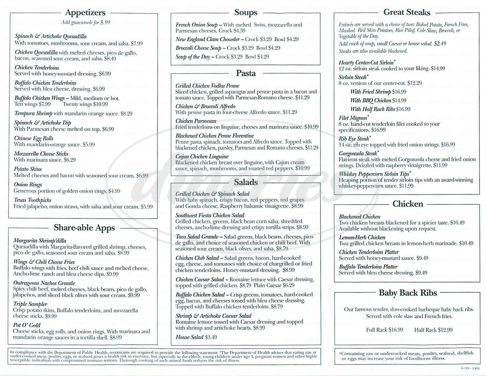 menu for Ground Round Grill and Bar