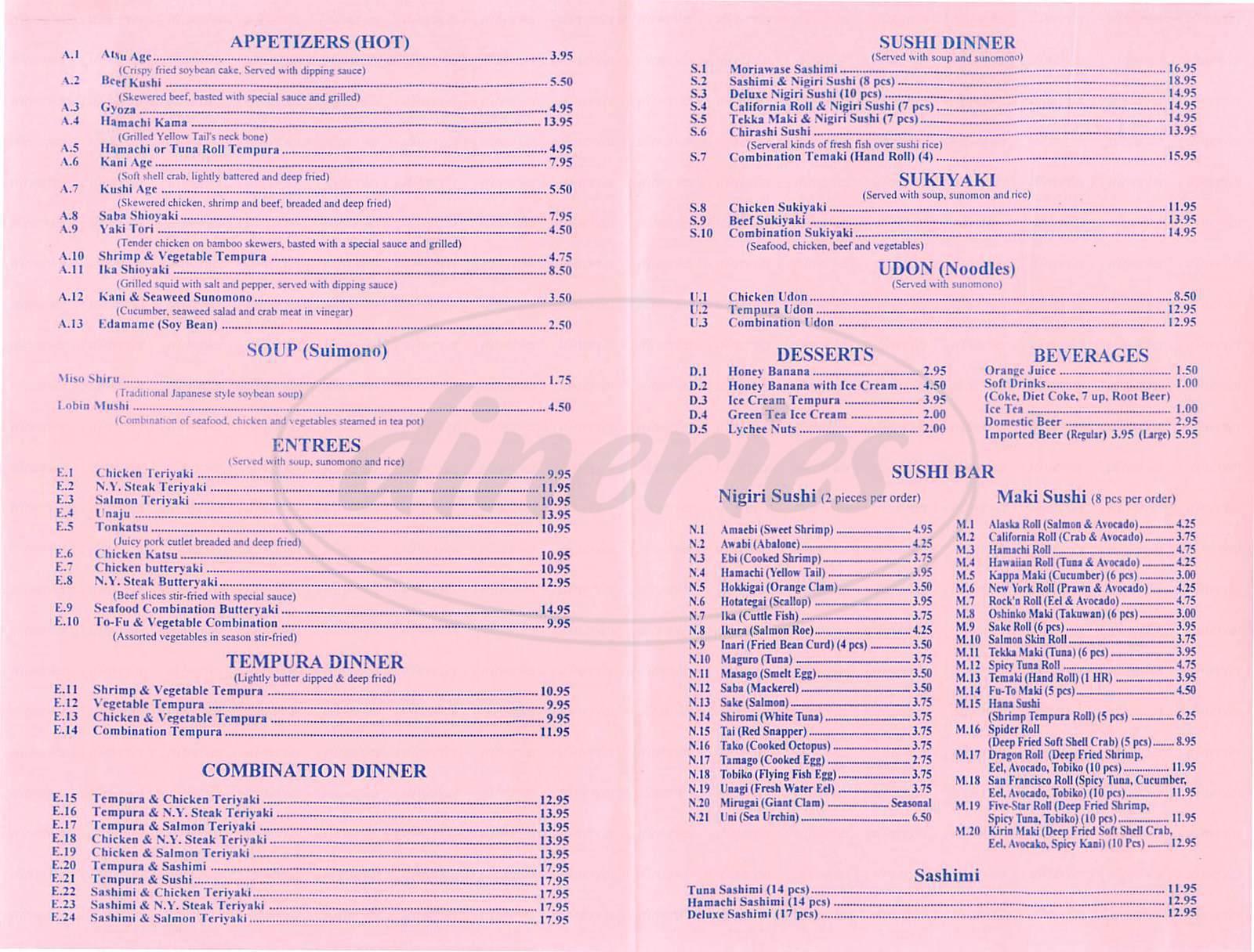menu for Tokyo Sushi