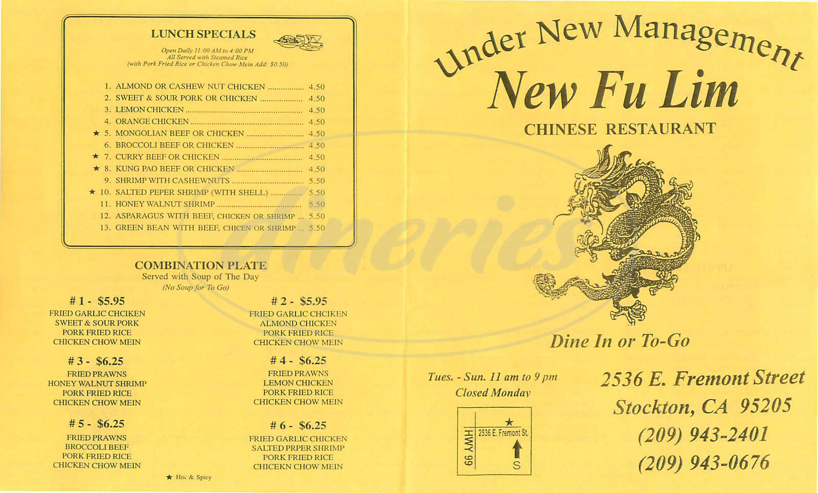 menu for New Fu Lim