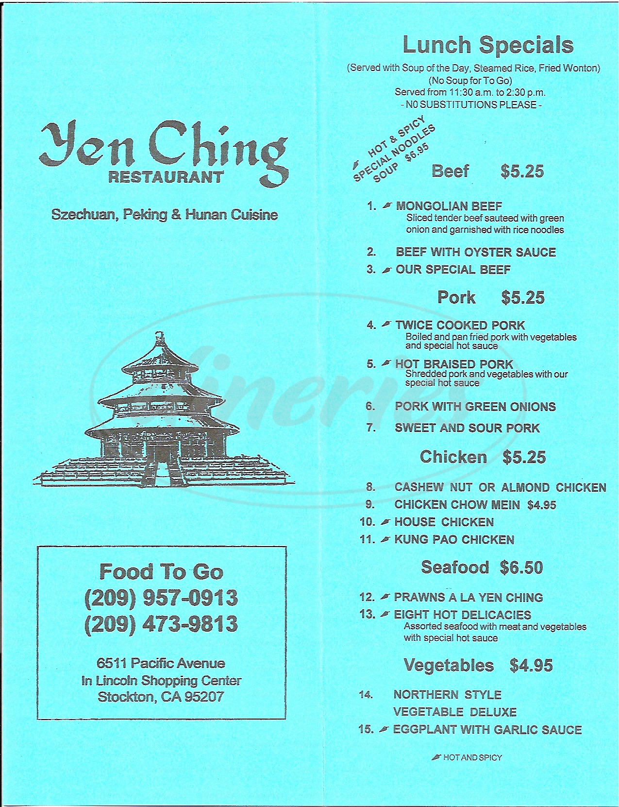 menu for Yen Ching