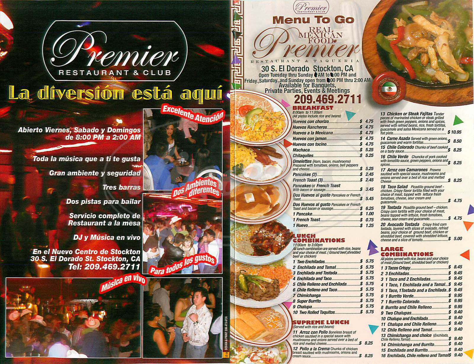 menu for Premier Restaurant & Taqueria