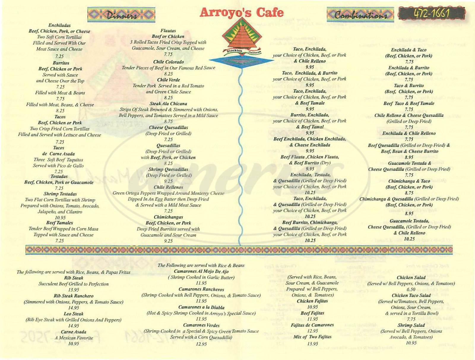 menu for Arroyo's Cafe