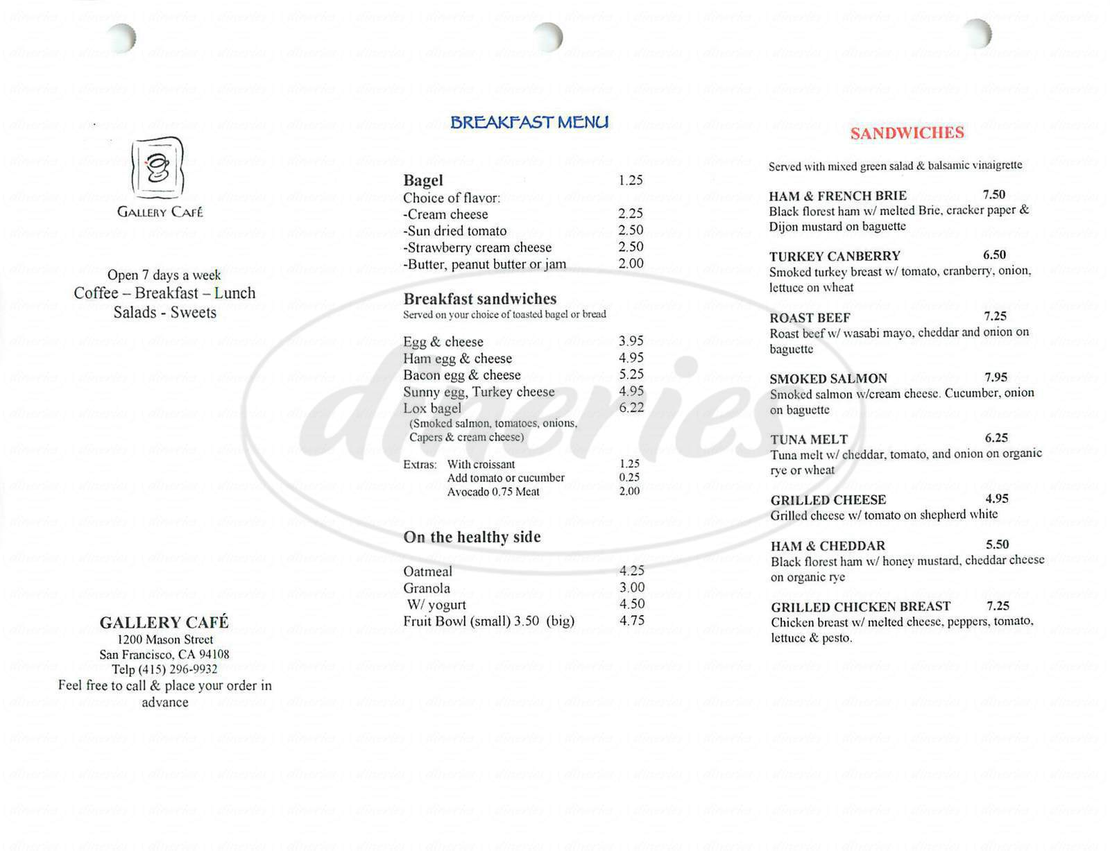 menu for Gallery Cafe