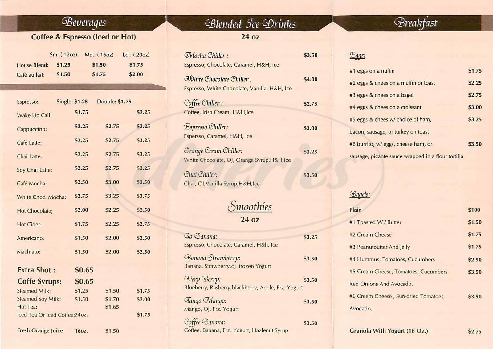 menu for Sausalito Espresso