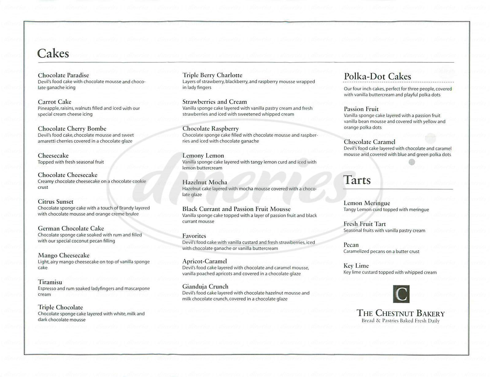 menu for Chestnut Bakery