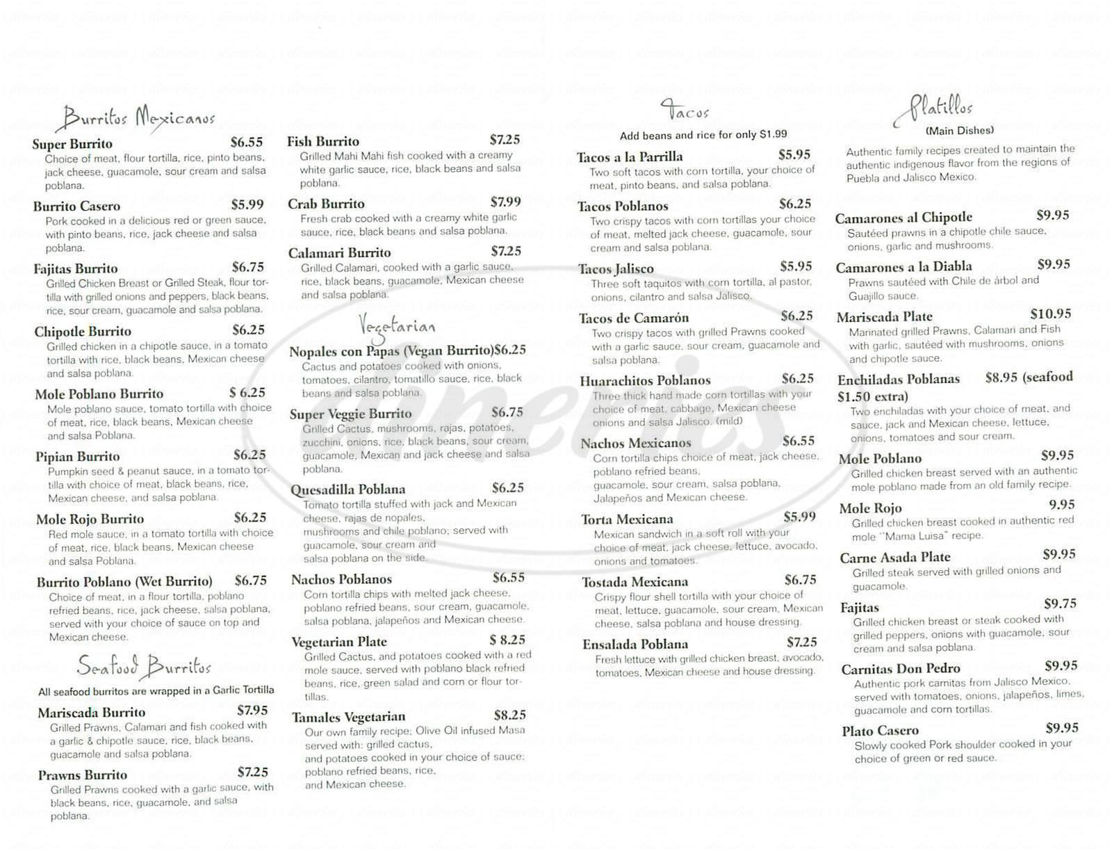 menu for Cocina Poblana