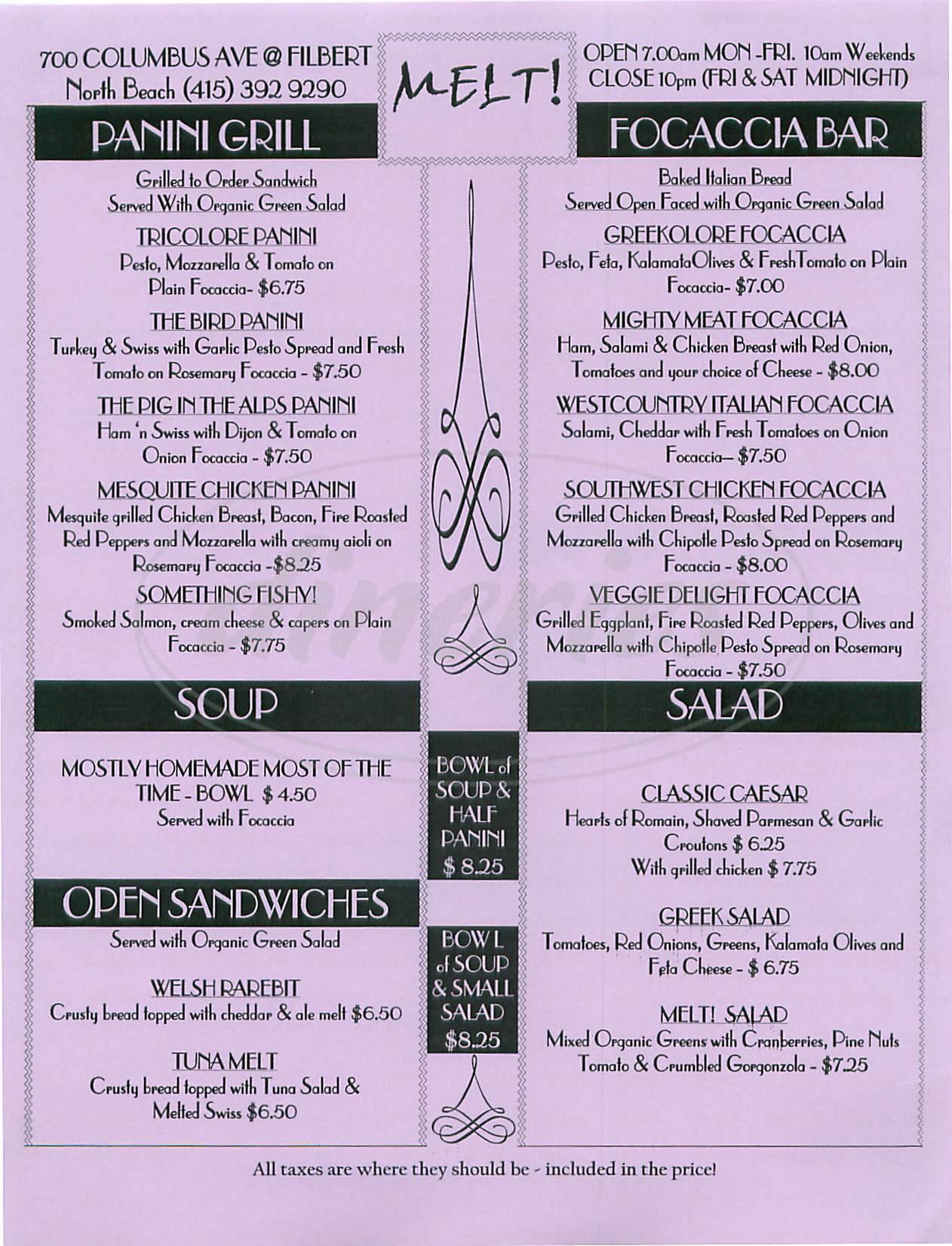 menu for Melt