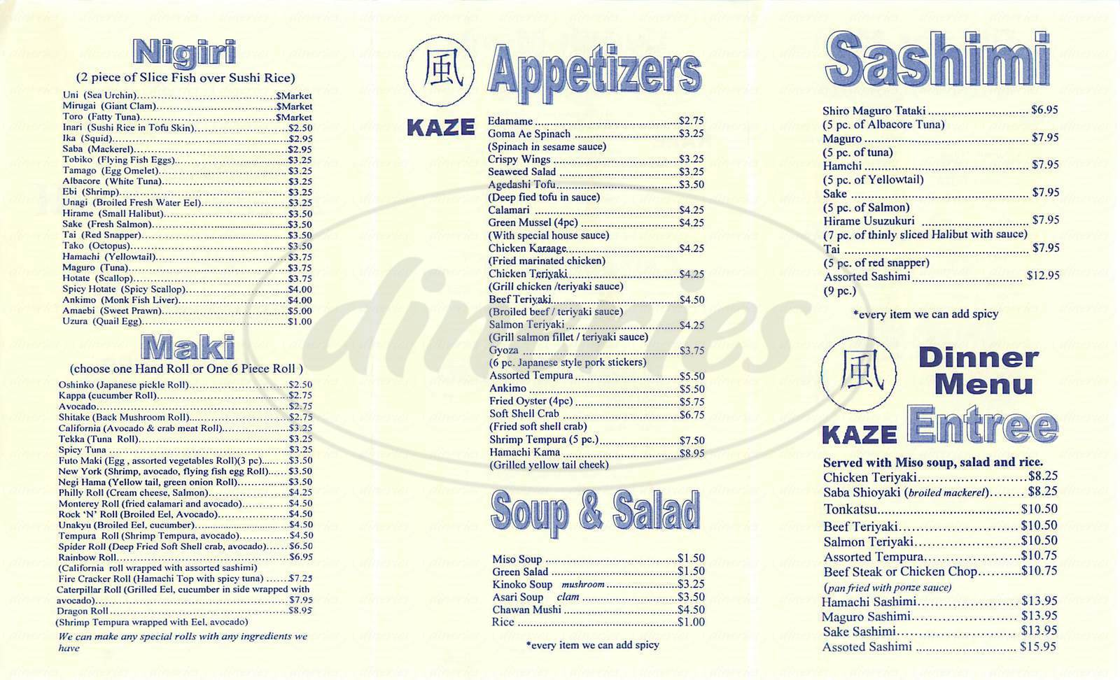menu for Kaze Sushi
